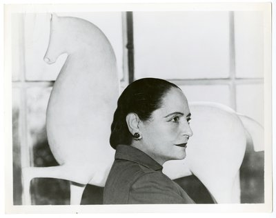 Helena Rubinstein with Elie Nadelman horse sculpture