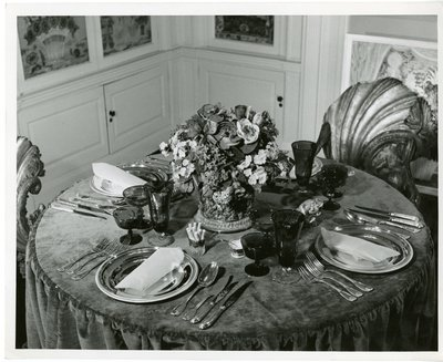 Dining table in Pallavicini room in Park Avenue apartment