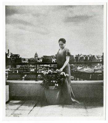 Helena Rubinstein in Vionnet-style dress on terrace of Paris apartment