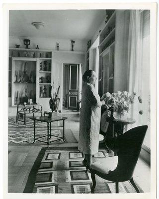 Helena Rubinstein in African Primitive Room of Paris apartment