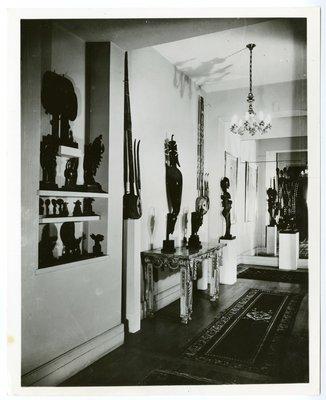 Foyer with primitive art in the Paris apartment