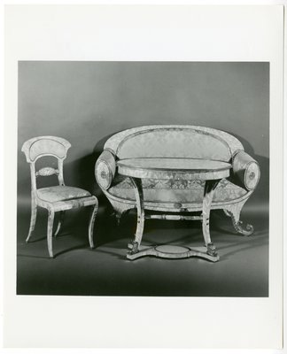 Table, loveseat and chair of mother-of-pearl, circa 1835