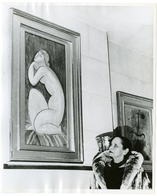 Helena Rubinstein with paintings by Nadelman and Miro