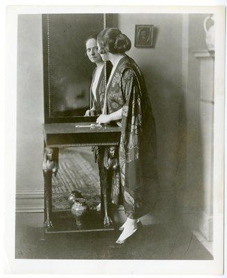 Helena Rubinstein in silk gown with leaf design
