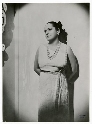 Helena Rubinstein in embroidered dress by Lanvin