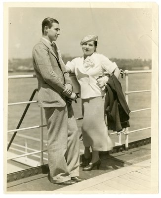 Helena Rubinstein on a ship deck with son Horace Titus
