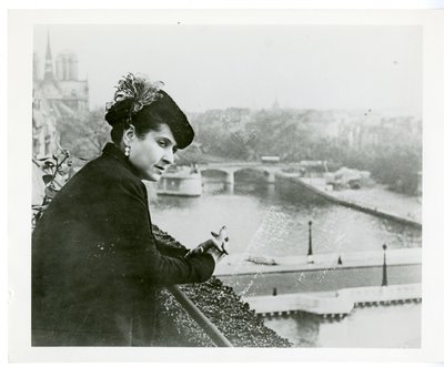 Helena Rubinstein looking towards the Seine in Paris from her apartment