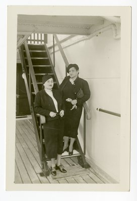 Helena Rubinstein and woman companion on ship stairs
