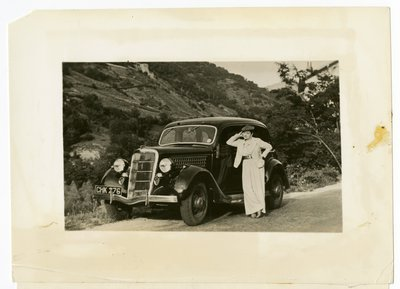 Helena Rubinstein next to car near Grasse, France