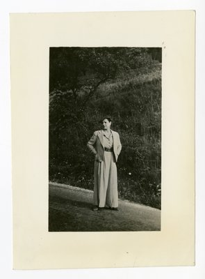 Helena Rubinstein in country on side of road in South of France