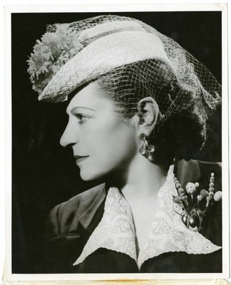 Helena Rubinstein in suit by Schiaparelli