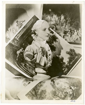 Photomontage by Cecil Beaton with Helena Rubinstein's face over a military bust