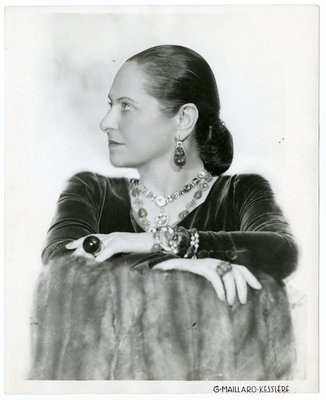 Helena Rubinstein in velvet and fur with large round ring