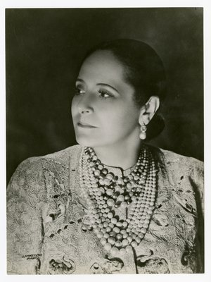 Helena Rubinstein in 'Prancing Elephant Dress' by Schiaparelli