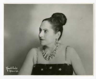 Helena Rubinstein in garment with star print