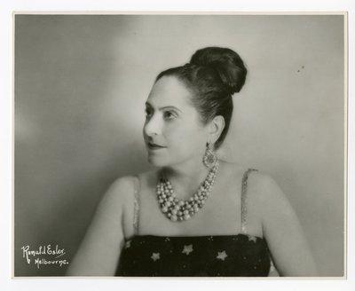 Helena Rubinstein in garment with star print