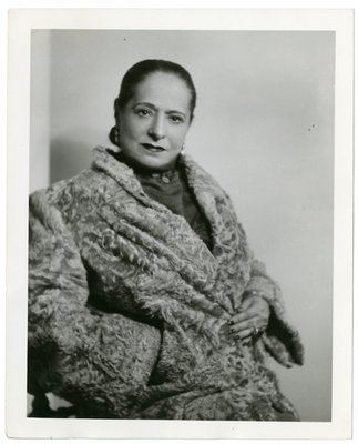 Helena Rubinstein in textured coat