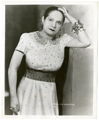 Helena Rubinstein in Molyneux dress with sequin and pearl embroidery