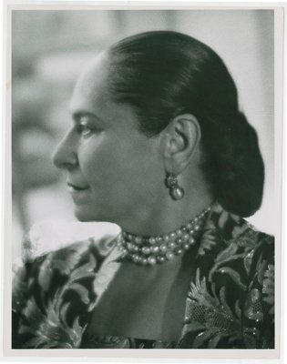 Helena Rubstein in profile, photograph covered in hatch lines