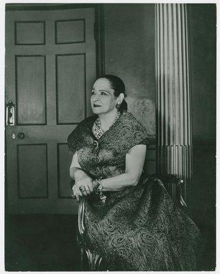 Helena Rubstein in garment with swirl design