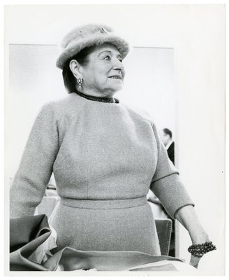 Helena Rubinstein in wool garment and mohair hat