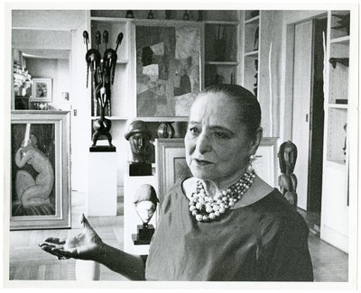 Helena Rubinstein with paintings by Nadelman