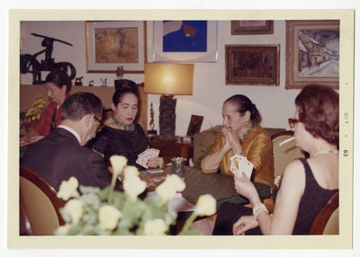 Helena Rubinstein playing a card game