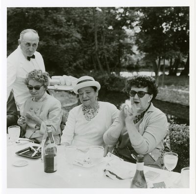 Helena Rubinstein at luncheon with Irene Brin and Carmel Snow