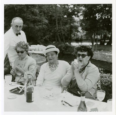 Helena Rubinstein at luncheon with Carmel Snow and Jessica Daves