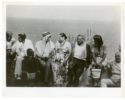 Pablo Picasso, Helena Rubinstein, and Artchil Gourielli in Antibes