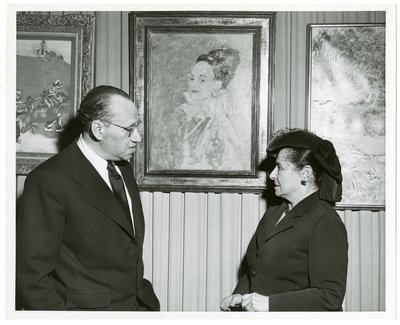 Helena Rubinstein with artist Marcel Vertes