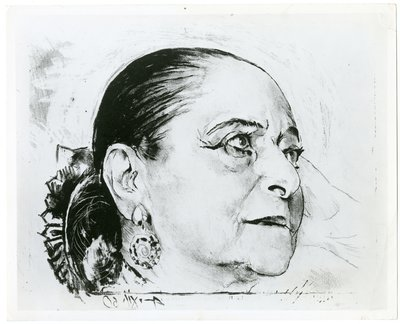 Photo of lithograph portrait of Helena Rubinstein by Graham Sutherland