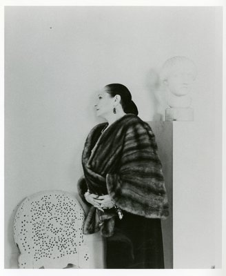 Helena Rubinstein in fur with Nadelman sculpture