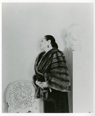 Helena Rubinstein in fur with Nadelman sculpture