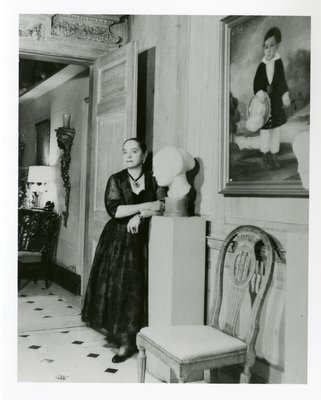 Helena Rubinstein with Nadelman art and painting of young boy
