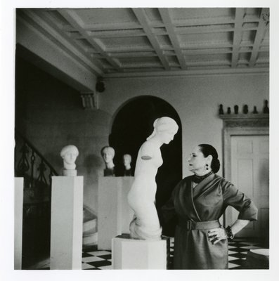 Helena Rubinstein with primitive art and Nadelman sculpture