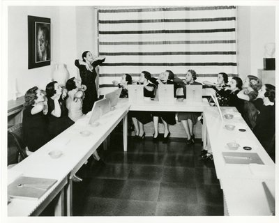 Helena Rubinstein beauty school class in New York, chin exercise