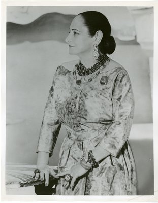 Helena Rubinstein in the Dali room of her New York apartment