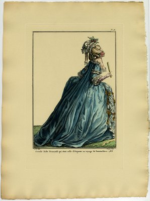 Grand Robe Francoise, Fashion plate from Galerie des Modes et Costumes Français