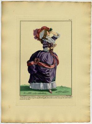 Jeune Dame en Bergere, Fashion plate from Galerie des Modes et Costumes Français