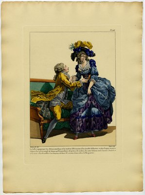 Belle Engagee, Fashion plate from Galerie des Modes et Costumes Français