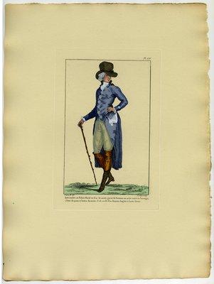 Petit Maitre au Palais Royal, Fashion plate from Galerie des Modes et Costumes Français