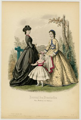 Fashion plate from Journal des Demoiselles, September 1863