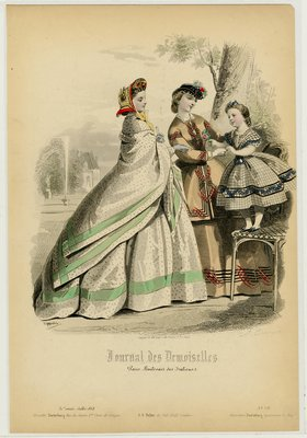 Fashion plate from Journal des Demoiselles, July 1864