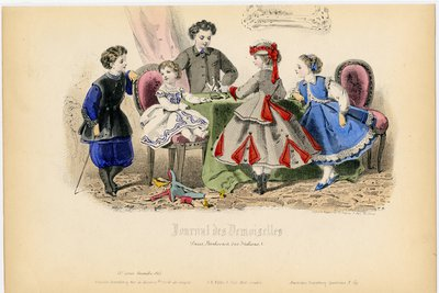 Fashion plate from Journal des Demoiselles, December 1865