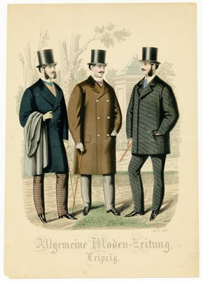 Three men outside in various coats and top hats