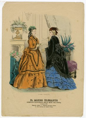 Fashion plate from Il Mondo Elegante, October 3, 1870