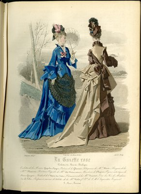 Fashion plate from La Gazette Rose, April 1874