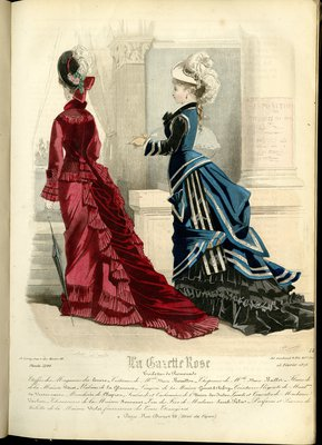 Fashion plate from La Gazette Rose, February 15, 1876