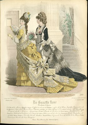 Fashion plate from La Gazette Rose, January 1, 1876